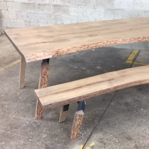 table et banc boulot live edge